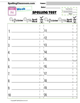 FREE Spelling Test Templates 10 | 15 | 20 | 30 WORD LISTS | BONUS WORDS