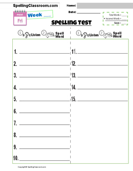 Free Spelling Test Templates 10 15 20 30 Word Lists Bonus Words