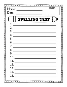 FREE Spelling Test Template