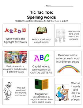 FREE: Spelling words Tic Tac Toe