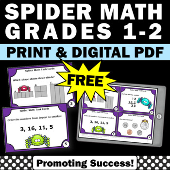 FREE 1st Grade Math Review for 2nd Grade, Spiders Theme, Task Cards