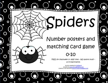 Spiders Numbers Posters and Matching Card Game 0-10 FREE