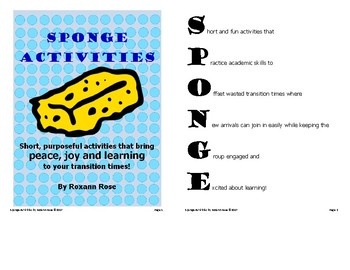 FREE Sponge Activities (14 short & engaging transition activities)