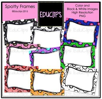 ~FREE~ Spotty Frames Clip Art Bundle {Educlips Clipart}