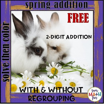 FREE Spring Addition Activity - 2-Digit With and Without Regrouping