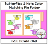 FREE Spring Butterflies & Nets Color Matching File Folder Activity