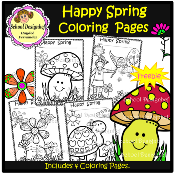 FREE Spring Coloring Pages (School Design) - Freebie