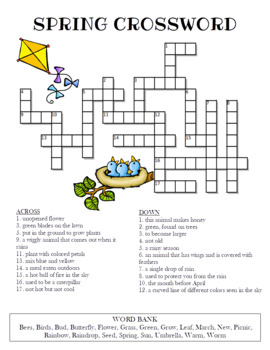 Spring Crossword Puzzle Color And Bw Versions By Celebration Station