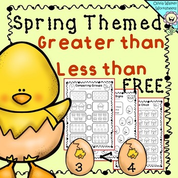 Spring Greater than, Less than worksheets - FREE