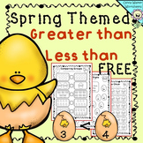 Greater than less than worksheet - FREE , spring themed worksheets
