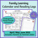 FREE March, April, May Family Learning Calendars and Reading Logs