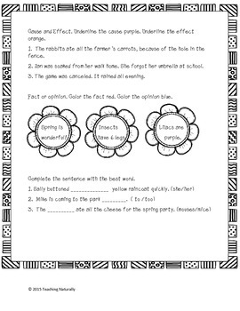 FREE Spring Math and Literacy Printables Worksheets