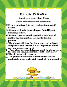 Multiplication Games - Spring Five-in-a-Row!