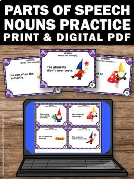 FREE Noun Task Cards, Spring Literacy Centers, Gnomes Theme