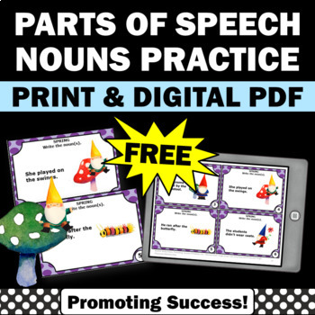 free nouns task cards activities games
