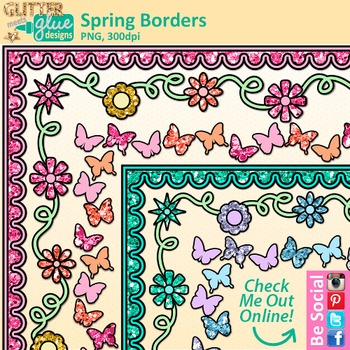 Spring Page Border Clip Art {Free Flower Frames for Worksheets & Activities}