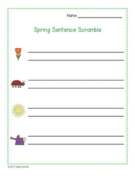 Sentence Scramble - Spring for Kindergarten and First Grade