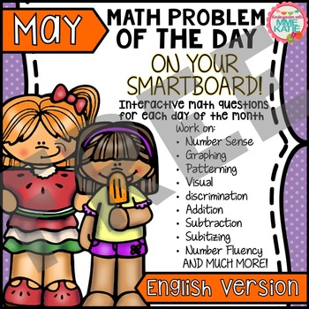 FREE Spring, Summer Mother's Day May SmartBoard Math Problem of the Day: Sample