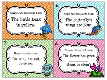Spring Task Cards to Practice Possessive and Plural Nouns