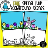 FREE Spring Tulip Background Scenes Clip Art Set - Chirp Graphics