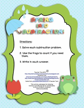 FREE Spring into Subtraction! for Kindergarten, First, and Second