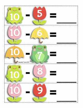 Spring Math Centers Kindergarten 1st Grade 2nd Grade Subtraction FREE