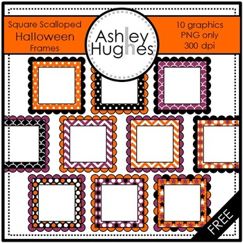 FREE Square Scalloped Halloween Frames Clipart {A Hughes Design}