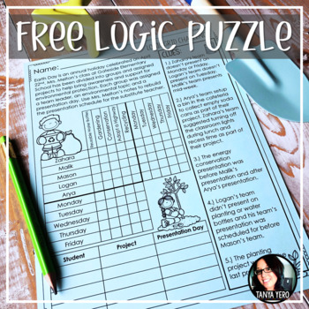 FREE Earth Day Activity Logic Puzzle Early Finisher Activity