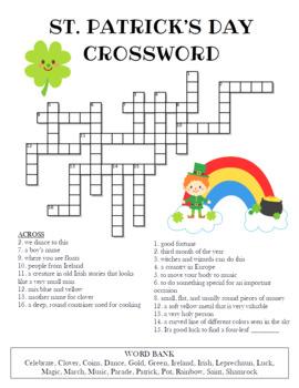 st patrick s day crossword puzzle by celebration station tpt