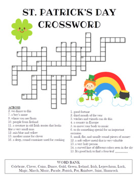 picture regarding St Patrick's Day Crossword Puzzle Printable named St. Patricks Working day Crossword Puzzle (Shade and BW styles)