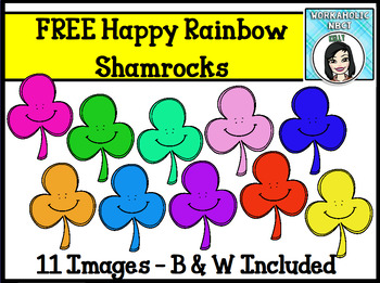 FREE St. Patrick's Day Happy Rainbow Shamrocks Clip Art