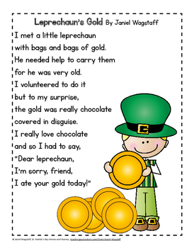 FREE St. Patrick's Day Leprechaun Poems and Fluency Practice K-3
