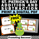 FREE St. Patrick's Day Math Centers, Addition and Subtraction Facts to 18