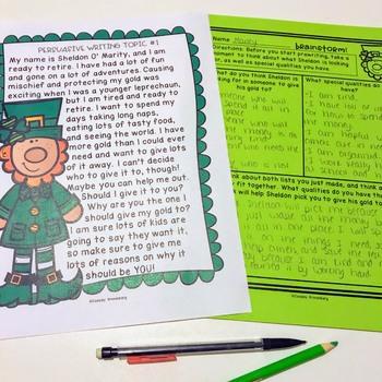 FREE St. Patrick's Day Persuasive Writing {Opinion Writing}