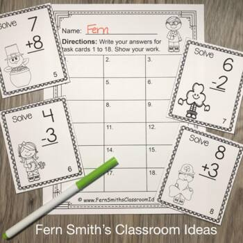 Task Cards - St. Patrick's Day Addition and Subtraction Facts