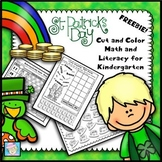 FREE!  St. Patrick's Day Cut and Color Math and Literacy for Kindergarten