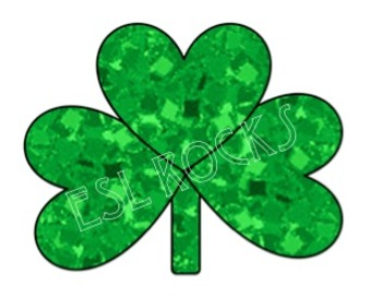 FREE St. Patrick's Day Glitter Shamrock Clip Art Irish Digital ClipArt ESL