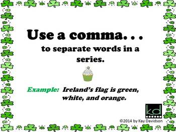 FREE St Patrick's Day Grade 1 CCSS Comma Rules Posters: Commas are NOT Sprinkles