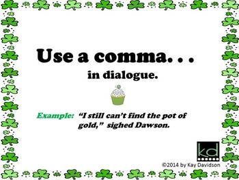 FREE St Patrick's Day Posters:  Comma Rules for Grade 3