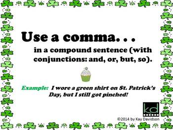 FREE St Patrick's Day Grade 4 CCSS Comma Rules Posters: Commas are NOT Sprinkles