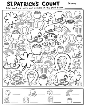 St. Patricks Day 'I spy',count and Color activity page