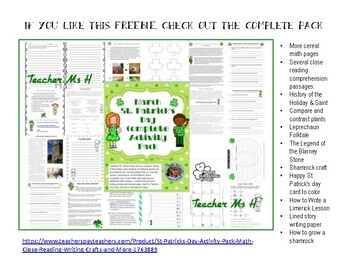 FREE  St. Patrick's Day Lucky Charms Math Graph FREE