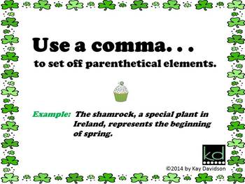 FREE St Patrick's Day Printable Grade 6 CCSS Posters: Commas are NOT Sprinkles!