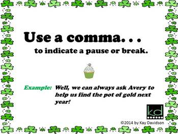 FREE St Patrick's Day Printable Grade 8 CCSS Posters: Commas are NOT Sprinkles!