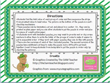 FREE St. Patrick's Day Sequencing Puzzles Total Coin Value Ordering