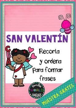 FREE St Valentine Spanish - Sentence Building - Español San Valentín