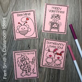 Coloring Pictures Of Valentines Day Cards. St  Valentine s Day Coloring Pages Classroom Cards Freebie