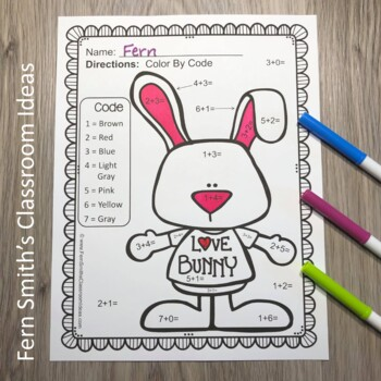 FREE Color By Numbers Valentine's Day Addition Color By Code