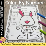Color By Numbers Valentine's Day Addition Color By Code Freebie