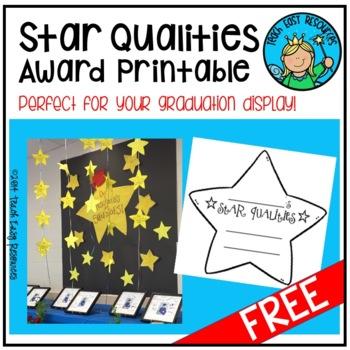 FREE Star Qualities Award Printable and Graduation Decoration